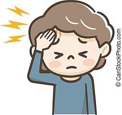 souffrance, mûr femme, mal tête