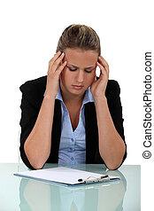 souffrance, ouvrier, bureau, mal tête
