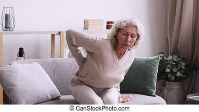 souffrance, retiré, personne agee, mûrir, arthritis., ...
