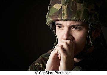 souffrance, uniforme, soldat, tension