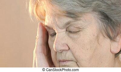 souffre, vieux, headaches., haut, figure, femme, fin