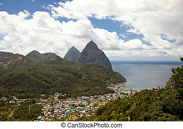 soufriere, st lucia - overhead view of soufriere and pitons,...