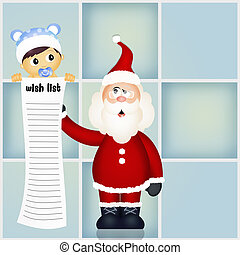 souhait, claus, liste, santa