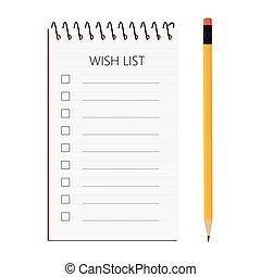souhait, vecteur, liste