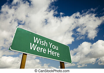 souhait, vous, route, ici, signe
