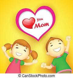 souhaiter, vous, gosses, amour, maman