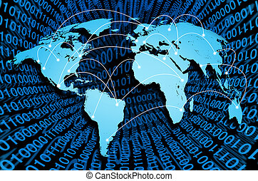 souhrnný, internet, s, digitální, konexe