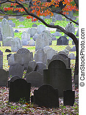 Famous landmark of history cemetery, the Granary Burying ground in Boston