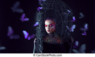 Soul breaks free from the cage. Young attractive girl in bright art-makeup, a lot of butterflies