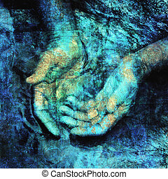 Soul Cleansing - Mystical hands in water. Photo based...