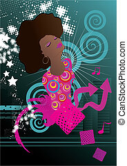 Soul singer music background vector illustration
