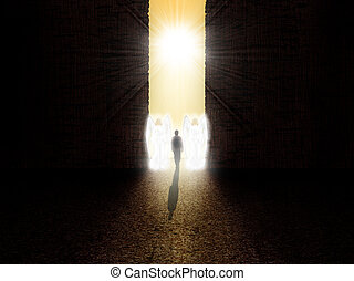 Soul standing at the entrance to paradise - Two angels ...