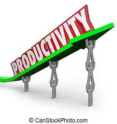 soulevé, bon, productivité, efficace, gens fonctionnement, positif, équipe, résultats, efficace, manière, flèche, ensemble, mot, livre, résultat, productif