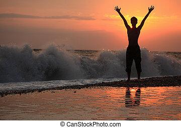 soulevé, silhouette, ondulé, coucher soleil, mains, type, ...