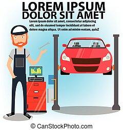 soulevé, voiture, ascenseurs, mécanicien, auto, repair.