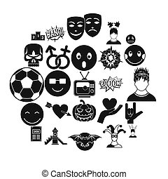 Soulful icons set, simple style - Soulful icons set. Simple...