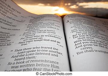 souligner, coucher soleil, malachi, fond, saint, ouvert, chapitre, bible, 4, soleil, nuages, 2., vers