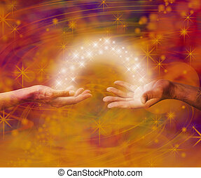 Man and woman both with one hand each palm up with an arc of white light and sparkles joining them on an amber colored energy formation background