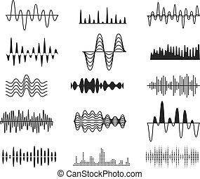 Sound amplitude waves. Radio signal symbols. Audio music equalizer, voice wave vector set isolated. Voice digital electronic equalizer, frequency soundwave illustration