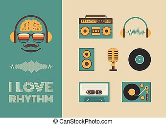 sound and rhythm - set of old style listening gadget icon,...