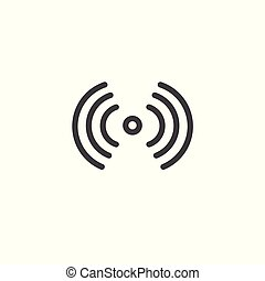 Sound and speak icon with soundwave forms emanating out from...