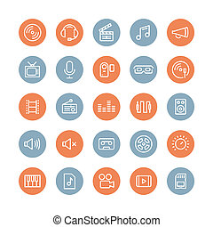 Sound and video flat icons set - Flat line icons modern...