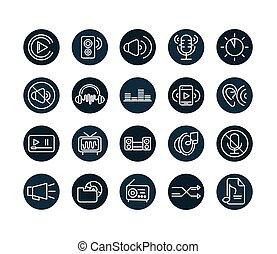 sound audio volume music block style icons set