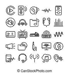 sound audio volume music line style icons set