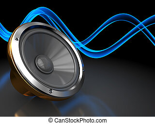 abstract 3d illustration of dark background with audio speaker and sound waves
