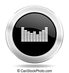 sound black icon, metallic design internet button, web and mobile app illustration