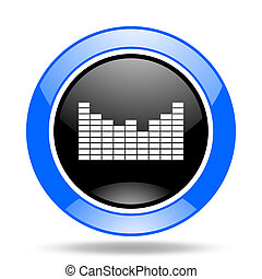 sound blue and black web glossy round icon