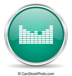 sound blue glossy circle web icon