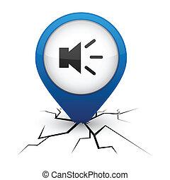Sound blue icon in crack.