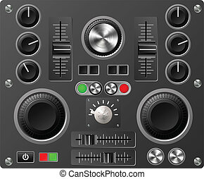 Sound board or studio controls - Mixing desk production...