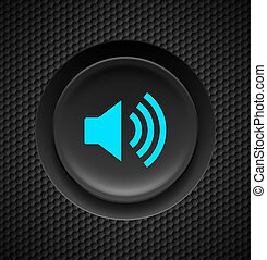 Sound button. - Black and blue sound button on carbon...