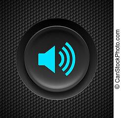 Sound button. - Black and blue sound button on carbon...