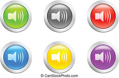 6 high-detailed buttons. Sound button. Vector illustration.