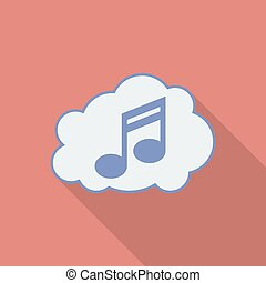 Sound cloud icon. Modern Flat style with a long shadow