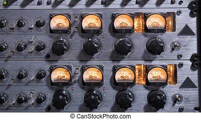 Sound compressor panel in recording studio - Closeup of...