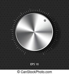 sound control knob with metal textu