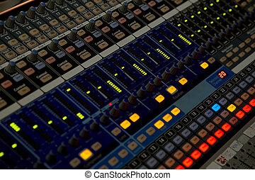 Sound control panel. Sliders close-up