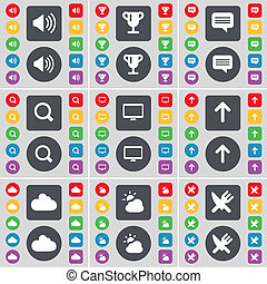 Sound, Cup, Chat, Magnifying glass, Monitor, Arrow up, Cloud, Fork and knife icon symbol. A large set of flat, colored buttons for your design.