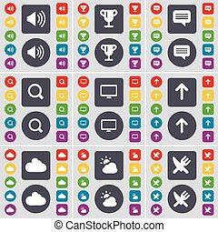 Sound, Cup, Chat, Magnifying glass, Monitor, Arrow up, Cloud, Fork and knife icon symbol. A large set of flat, colored buttons for your design. Vector