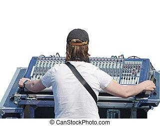 sound engineer working in TV/radio. Sound control unit