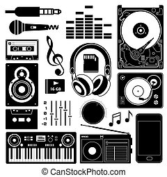 Sound equipment black icons