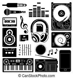Sound equipment black icons