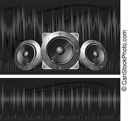 Sound equipment - Graphic equalizer display, sound waves and...