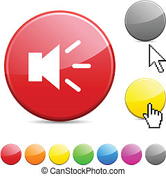 Sound glossy button. - Sound glossy vibrant round icon.