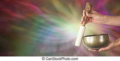 Sound Healer's website banner - Sound healer with Tibetan...