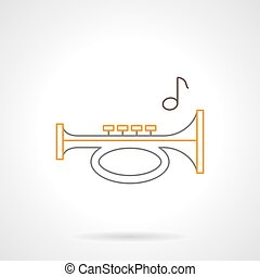 Sound horn flat line vector icon